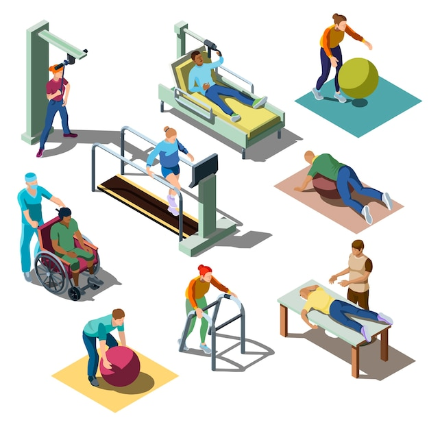 Rehabilitation medical center with characters with musculoskeletal disorders in isometric style. Free Vector