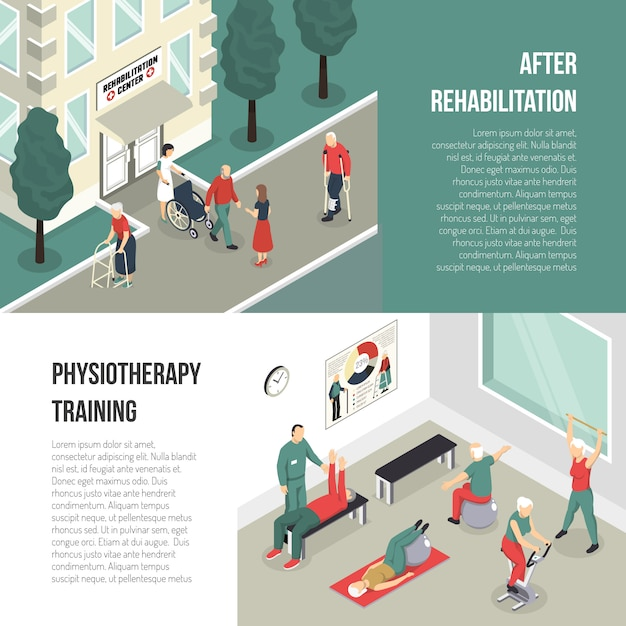 Rehabilitation and physiotherapy training banner set Free Vector