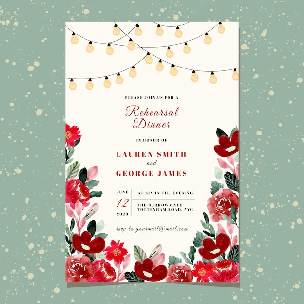 Rehearsal dinner invitation with string light and red floral watercolor Premium Vector