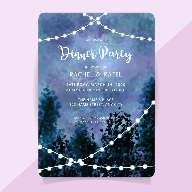 Rehearsal dinner party invitation card with watercolor misty forest background Premium Vector