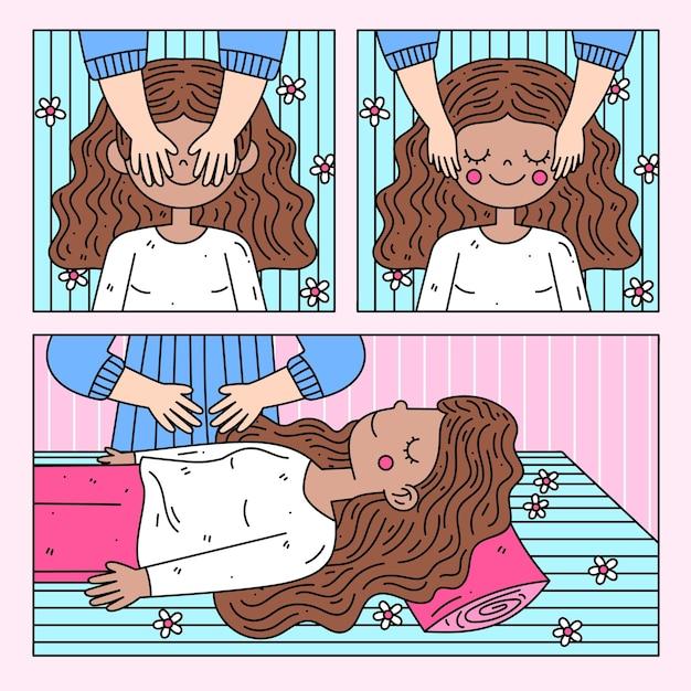 マッサージを持つレイキ療法女性 無料ベクター