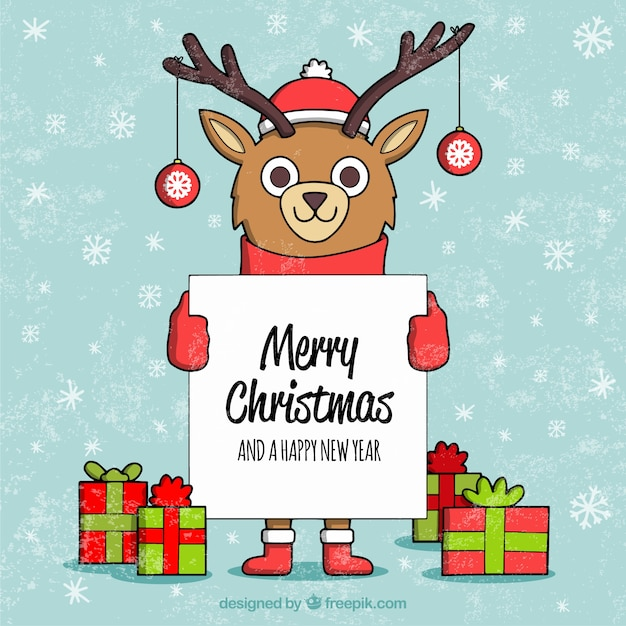 Reindeer background with happy christmas poster