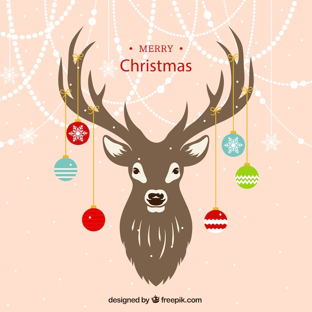 Reindeer background with ornaments Free Vector