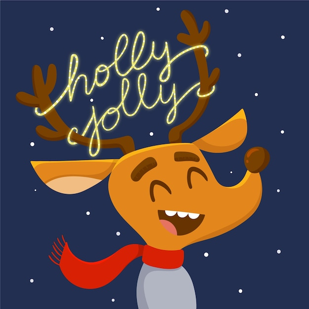 Reindeer character with lettering Free Vector