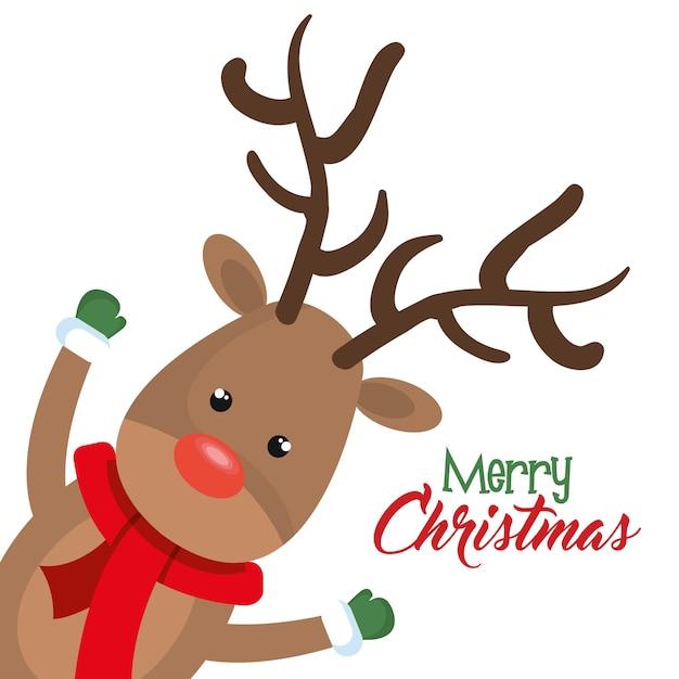 Reindeer christmas character icon Premium Vector