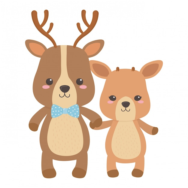 Reindeer and deer cartoon Premium Vector