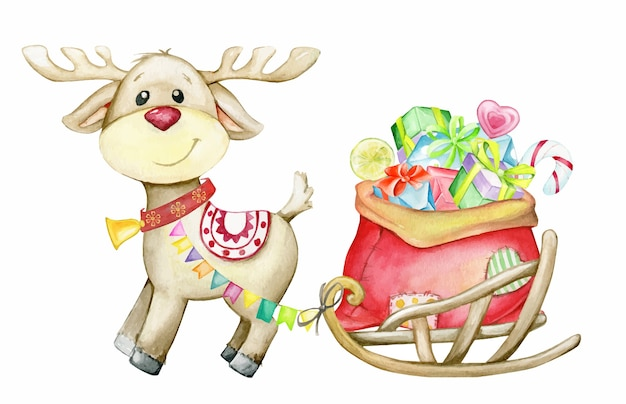 Reindeer deer, sleigh with gifts. watercolor illustration, in cartoon style. christmas Premium Vector