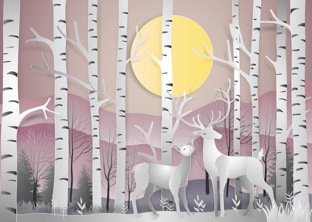 Reindeer in forest landscape at dawn Premium Vector
