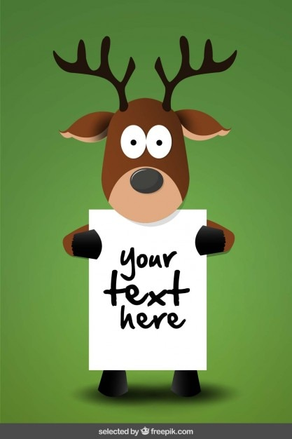 Reindeer holding a poster template Free Vector