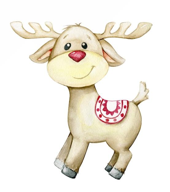 순록, 만화 스타일. 크리스마스 카드에 대 한 격리 된 배경에 수채화 동물. 프리미엄 벡터