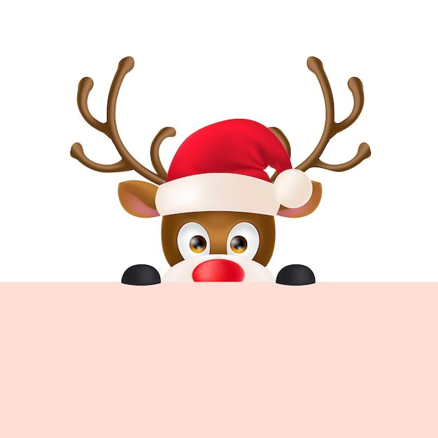 Reindeer in Santa Hat Peeping Out Free Vector