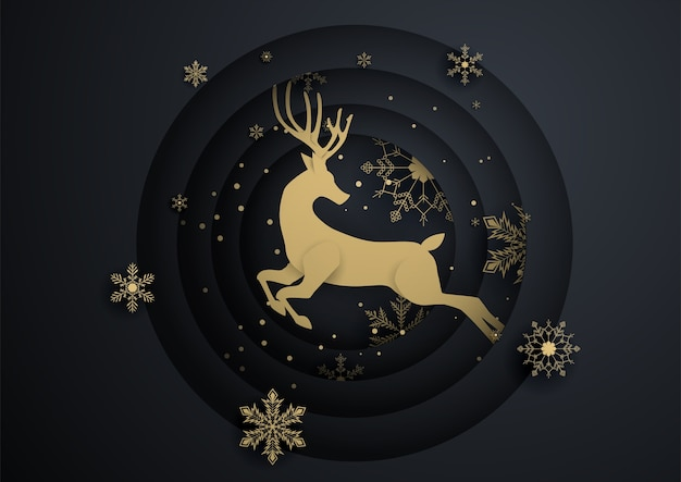 Reindeer jump in circle with gold snowflake Premium Vector