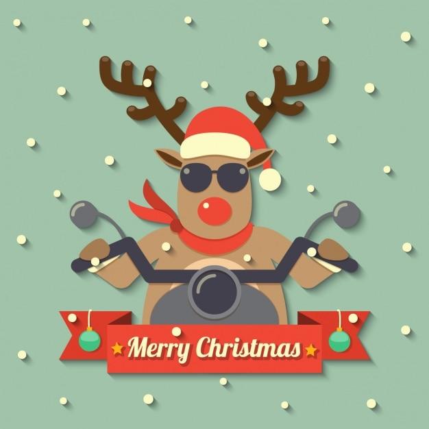 Reindeer mounted on a motorcycle Free Vector
