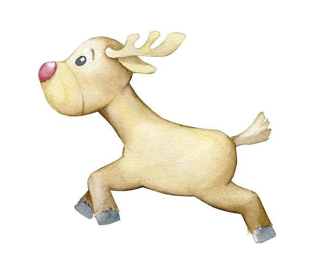 トナカイ、走っている。漫画のスタイルで、孤立した背景に水彩の動物。素晴らしい、動物 Premiumベクター