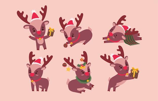 トナカイセット。ピンクのさまざまなジェスチャーベクトルイラストの動物キャラクター 無料ベクター