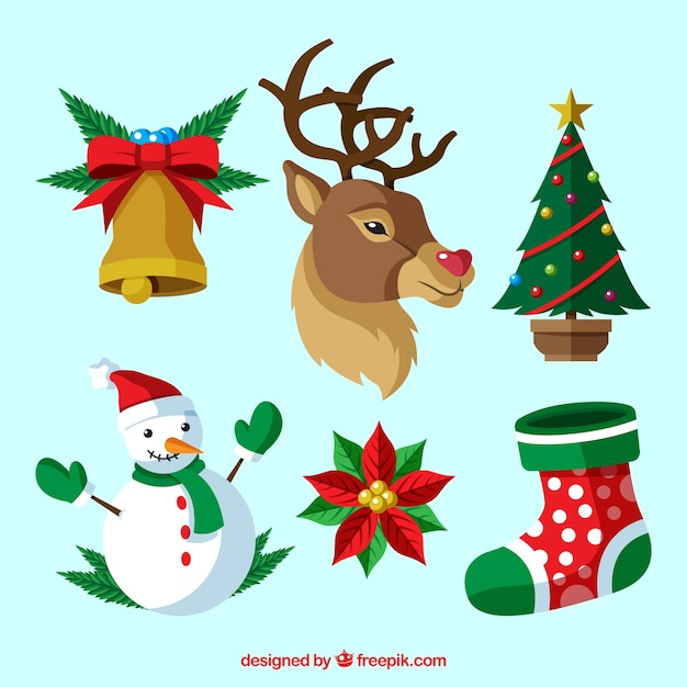 Reindeer set with other christmas elements Free Vector