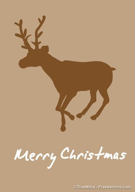 Christmas Reindeer Silhouette.Download Vector Reindeer Silhouette Christmas Card