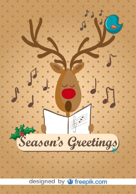Reindeer singing christmas carols card Free Vector