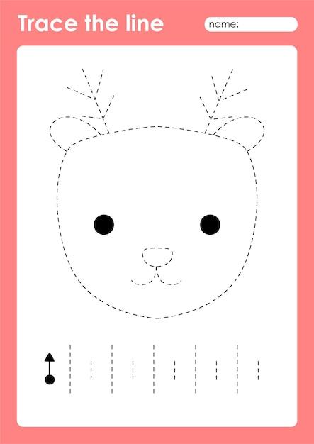 Premium Vector Reindeer - Tracing Lines Preschool Worksheet For Kids For  Practicing Fine Motor Skills