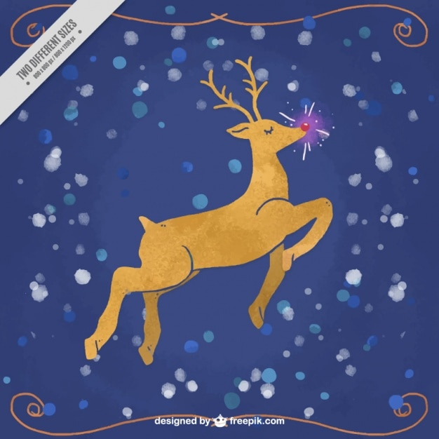 Reindeer watercolor background with bright nose