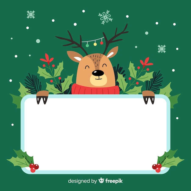 Reindeer with a board Free Vector