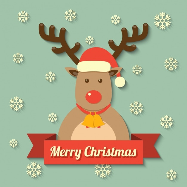 Reindeer with a merry christmas message Vector | Free Download