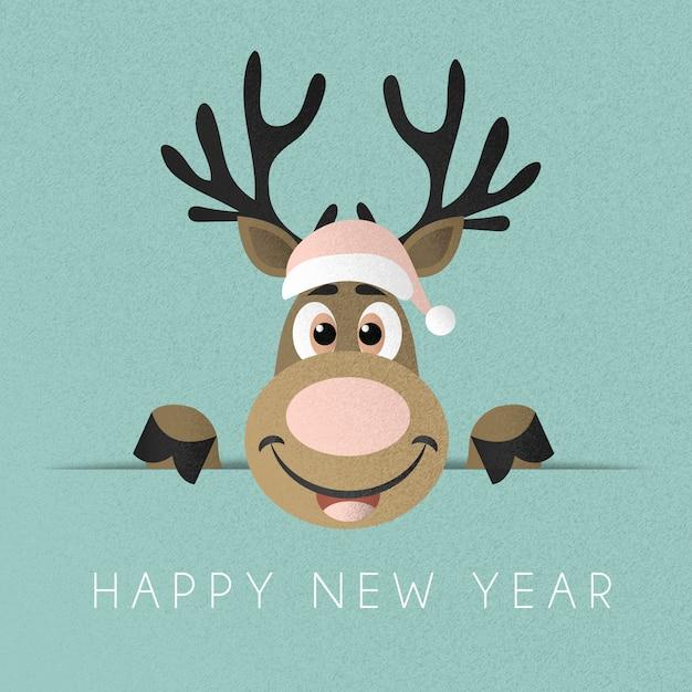 Reindeer with hat background Premium Vector