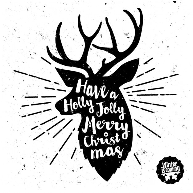 Reindeer with lettering Free Vector