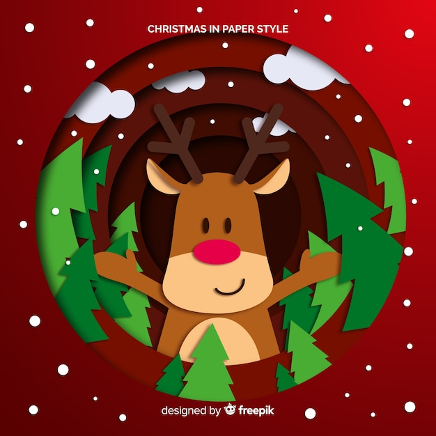 Reindeer with pines christmas background Free Vector
