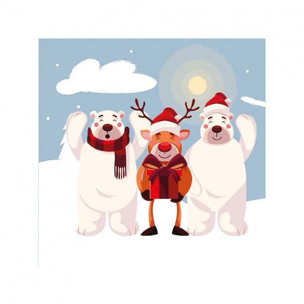 reindeer with polar bear in winter landscape vector. Black Bedroom Furniture Sets. Home Design Ideas
