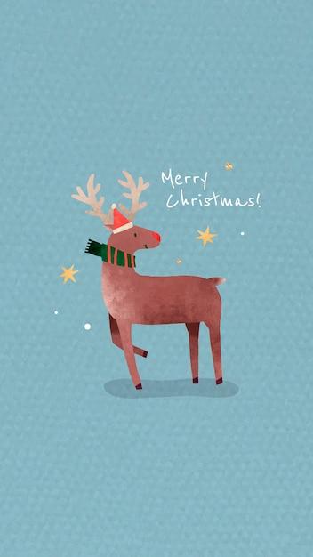 산타 모자와 메리 크리스마스 메시지와 함께 순록 무료 벡터