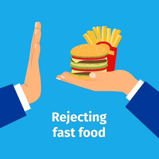 Rejecting the offered fast food Premium Vector