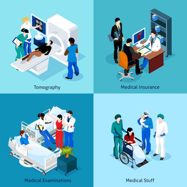Relationship between doctor and patient icon set Free Vector