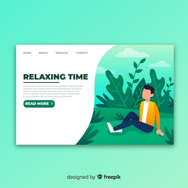 Relax landing page Free Vector
