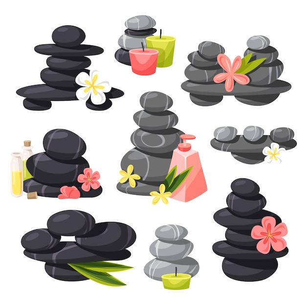 Relax stones  set. Premium Vector