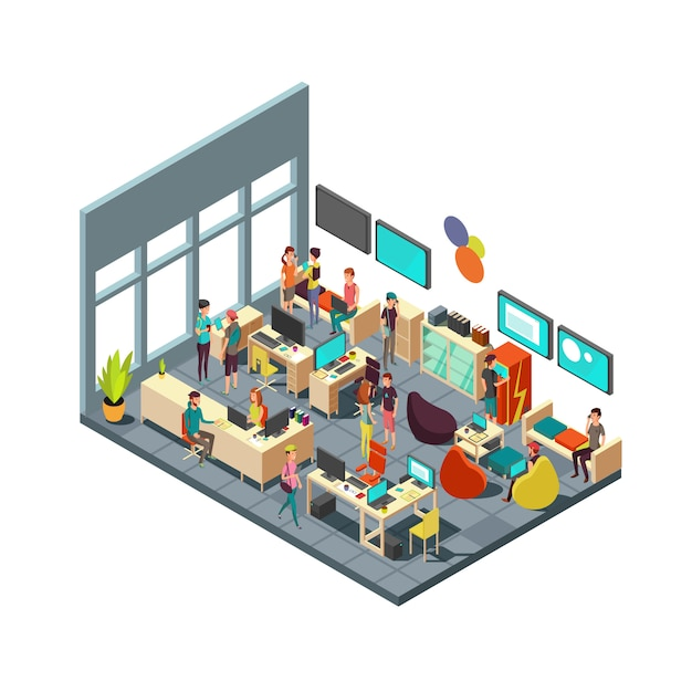Relaxed creative people meeting in room interior. 3d isometric coworking and teamwork vector concept Premium Vector