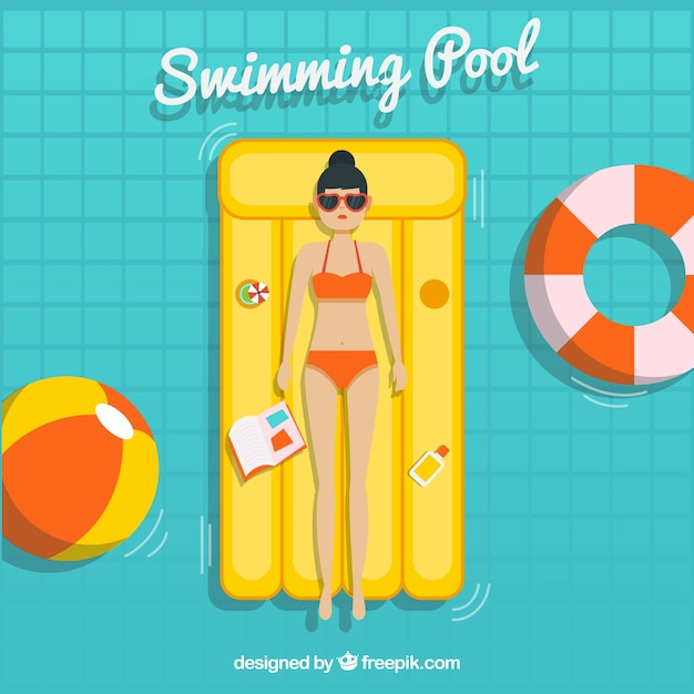 Relaxed girl in a swimming pool Free Vector