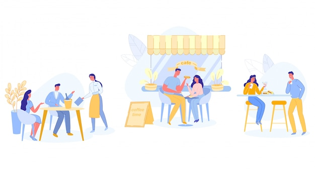 Relaxed people sitting at tables at outdoor cafe Premium Vector