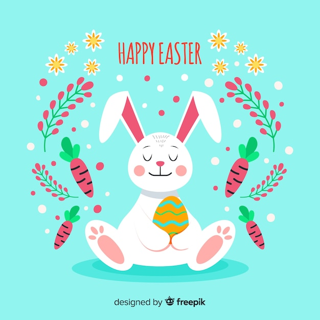 Relaxed rabbit easter background Free Vector