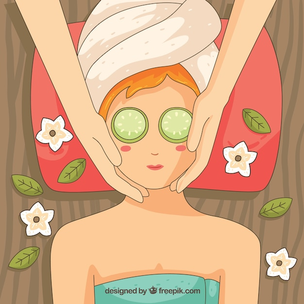 Relaxed woman in a spa