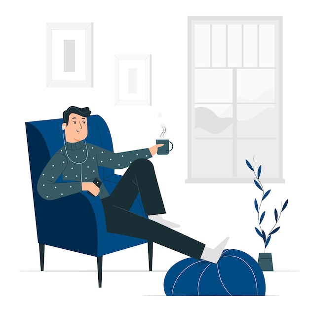 Relaxing at home concept illustration Free Vector