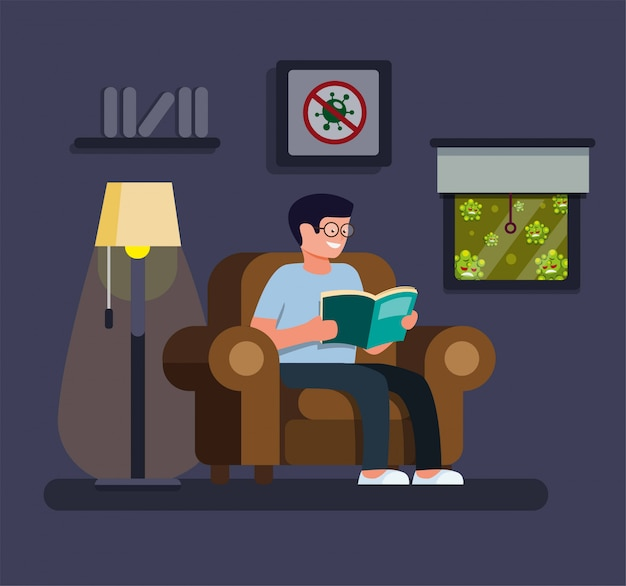 Relaxing man reading book in home, stay at home and self quarantine activities to protection from pandemic virus infection in cartoon flat illustration vector Premium Vector