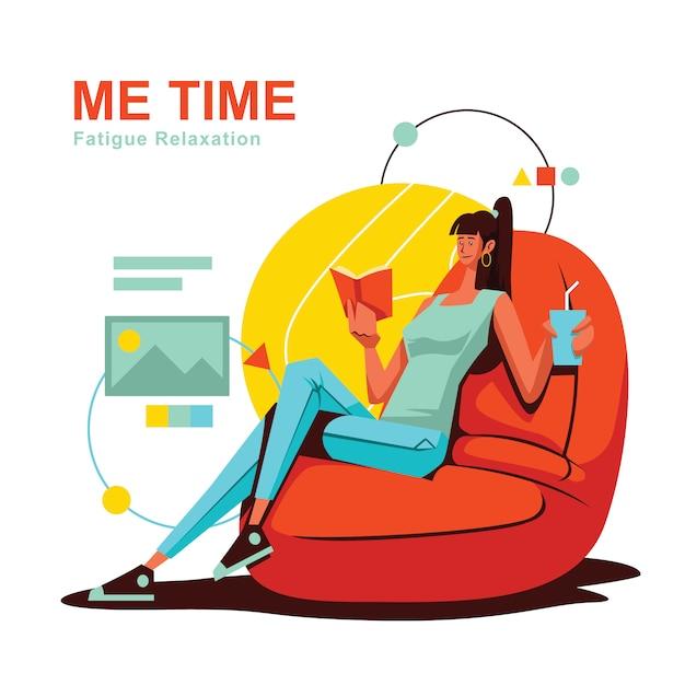 Relaxing me time woman sitting on bean bag Premium Vector