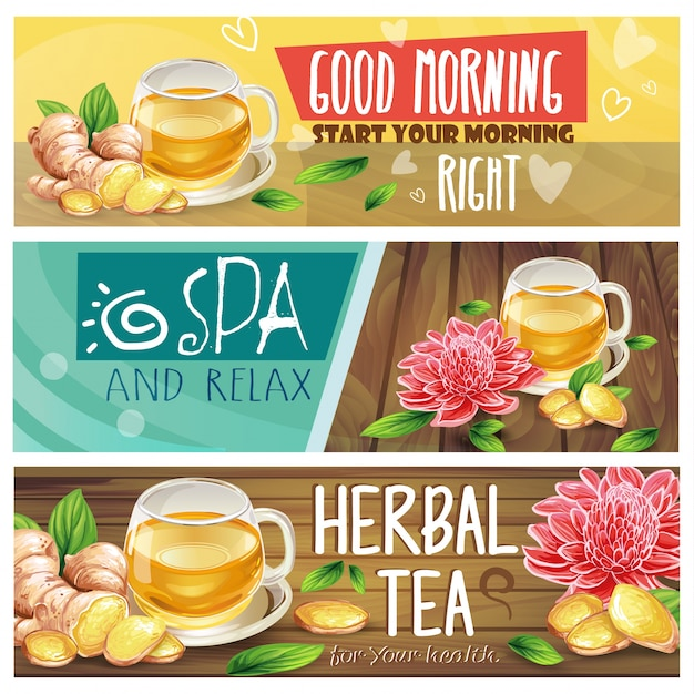 Relaxing morning herbal tea vector banners set Free Vector