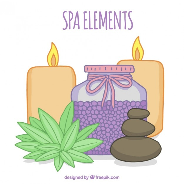 Relaxing spa elements Free Vector
