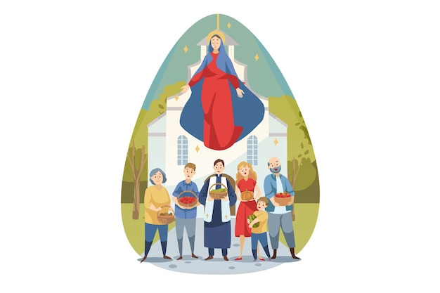 Religion, bible, christianity concept. young maria mother of jesus christ protecting caring about people christians parish with food vegetables. assumption of mary ascension celebration illustration. Premium Vector
