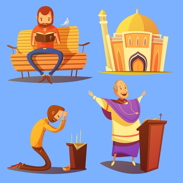 Religion cartoon icons set Free Vector