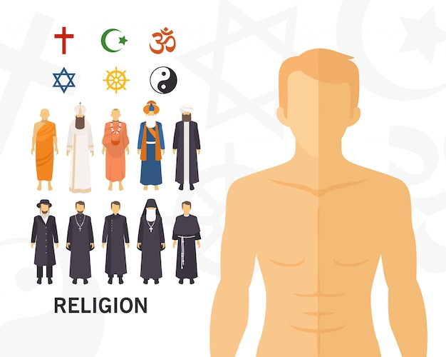 Religion concept background .flat icons Premium Vector
