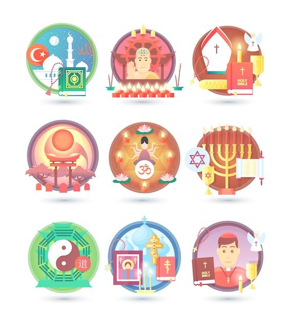 Religion and confession icons.  colorful concept  illustration. Premium Vector