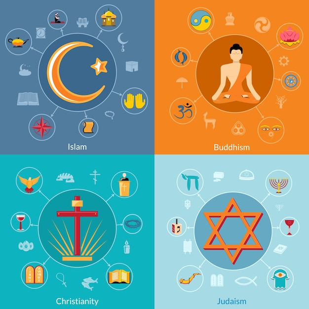 religion designs collection vector premium download